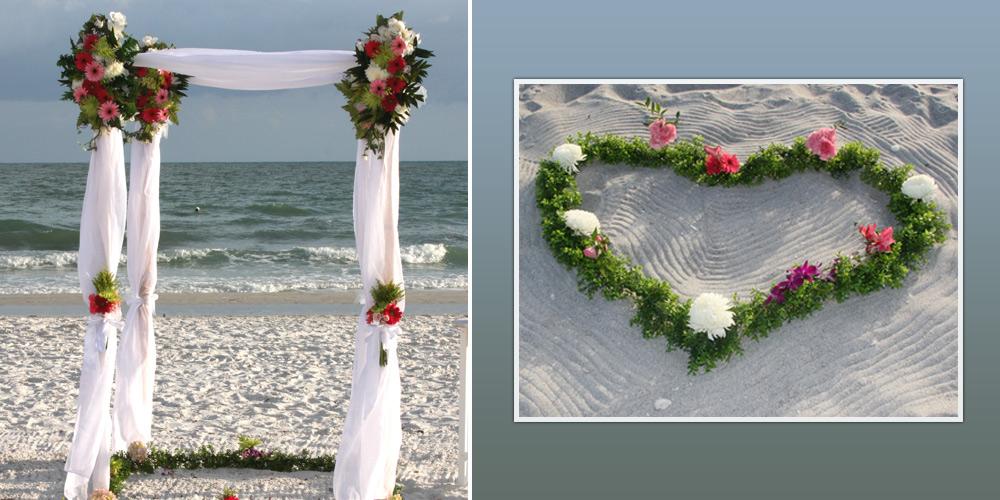 Florida Beach Wedding Ceremony Set With Heart