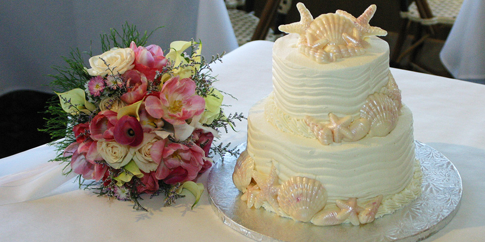 Wedding Cake with Bridal Bouquet